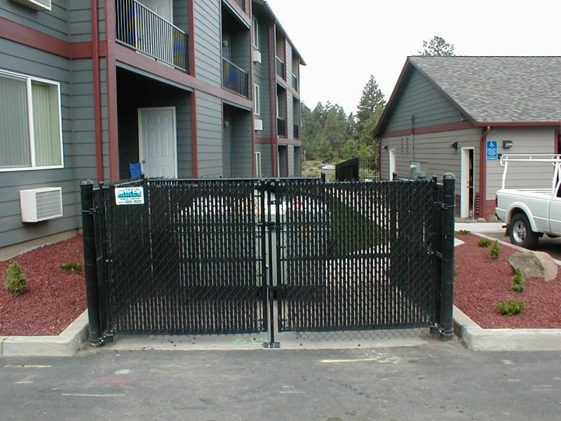 Black Slatted Chainlink Gate