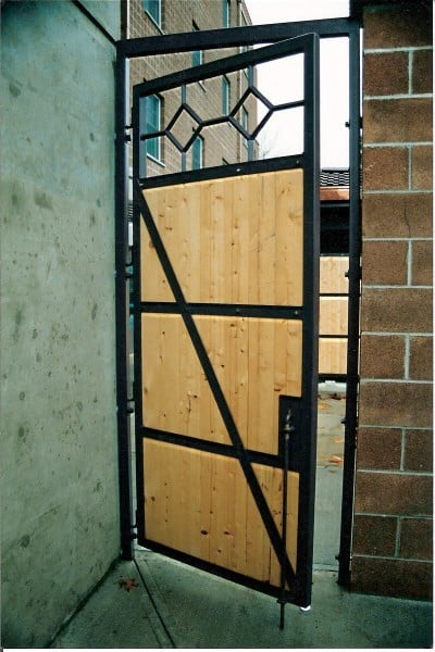 Black Framed Custom Cedar Walk Gate